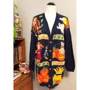 Fall Cute Cozy Cat Knit Navy Blue Cardigan Large